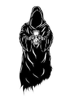 Die animation des schwarzen grimmigen, der die sandgläser in seinen händen hält
