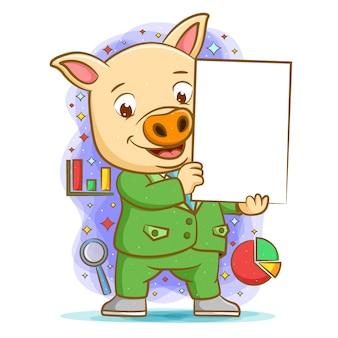 Die animation des schweins unter verwendung der grünen suite, die das leere brett zur präsentation hält