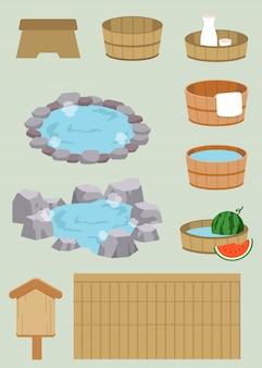 Die ansammlung eines japanischen badsatzes der heißen quelle
