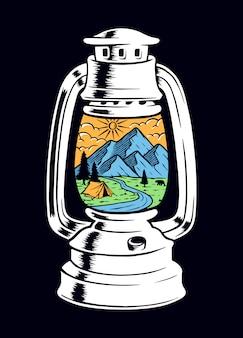 Die ansicht des berges innerhalb der alten lampenillustration