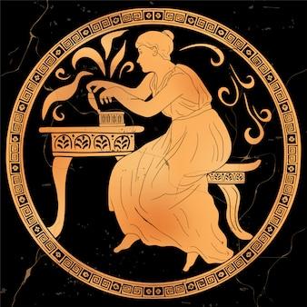 Die antike griechische göttin pandora öffnet eine kiste und befreit böse mächte. alte mythologische handlung.