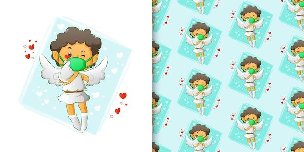 Die aquarellillustration des kleinen amors mit der maske, die das liebeszeichen im mustersatz der illustration gibt