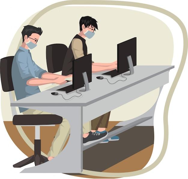 Die arbeiter benutzen eine medizinische maske und halten abstand, während sie im büro arbeiten