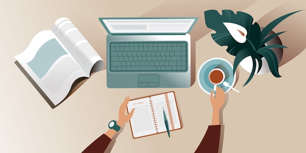 Die arbeitsfläche eines schreibtisches am montagmorgen. draufsicht illustration