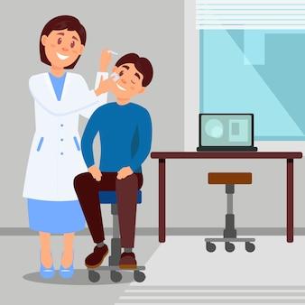 Die arztpraxis in der lächelnden frau der klinik behandelt das auge des jungen mannes unter verwendung von augentropfen. zeichentrickfigur des medizinischen arbeiters und des patienten. flache illustration.