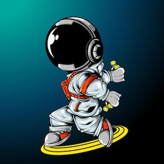 Die astronaut holding spray dose