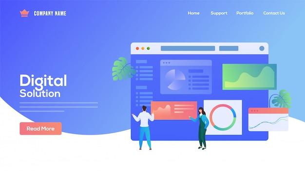 Die auf digital solution basierende landing page mit geschäftsmann und -frau unterhält die website auf blau.