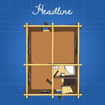 Die aufteilung des hauses. küche, bad, esszimmer, wohnzimmer und treppe zum zweiten stock.
