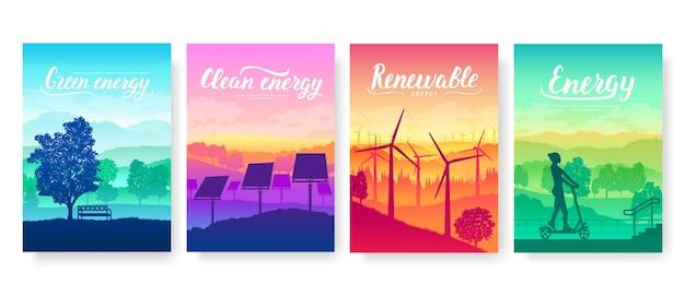 Die ausrüstung für saubere energie von morgen. öko-stromdesign für poster, magazin, broschüre, broschüre.