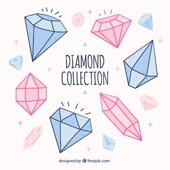 Die auswahl der blauen und rosa diamanten