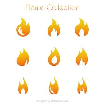 Die auswahl der flammen im minimalistischen stil