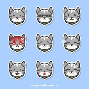 Die auswahl der katze emoticons mit großer mimik