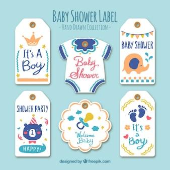 Die auswahl der netten handgezeichneten baby etiketten