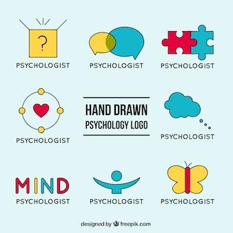 Die auswahl der psychologie logos mit verschiedenen farben
