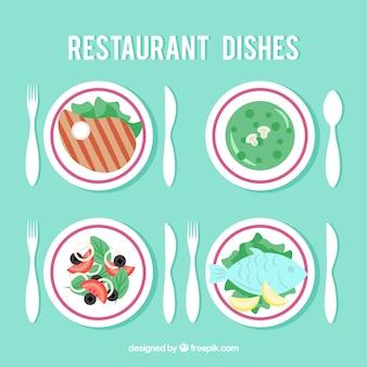 Die auswahl der speisen für restaurant, flat