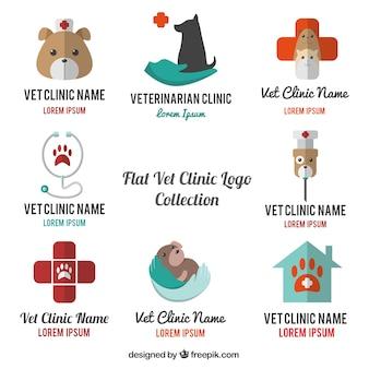 Die auswahl der tierarzt logos in flaches design