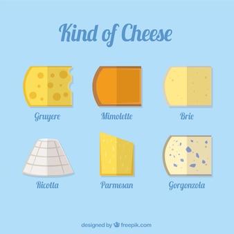 Die auswahl der verschiedenen arten von leckeren käse