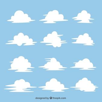 Die auswahl der weißen hand gezeichnet wolken