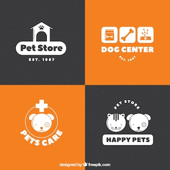 Die auswahl der weißen logos für ein haustier-shop