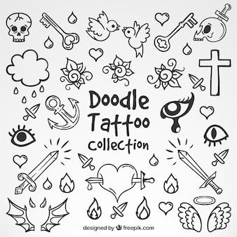 Die auswahl von doodle tätowierungen