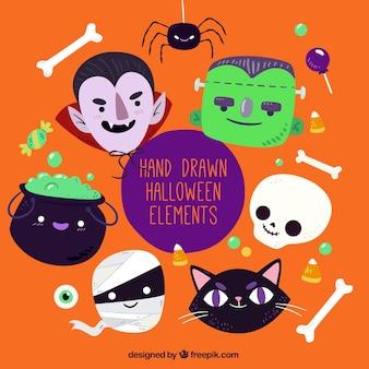Die auswahl von handgezeichneten halloween artikel