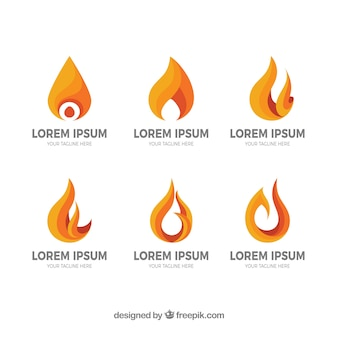 Die auswahl von sechs logos mit flammen in orangetönen