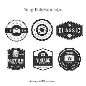 Die auswahl von sechs vintage-logos für die fotografie