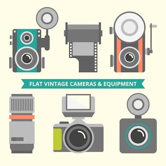 Die auswahl von vintage-flach kameras