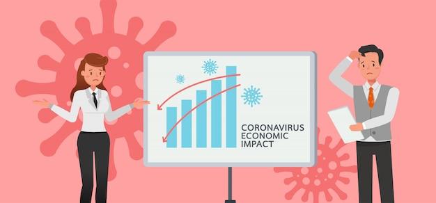 Die auswirkungen des coronavirus auf die börse und die weltwirtschaft. geschäftsleute .