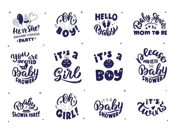 Die babyabzeichen mit schriftzügen. sammlung von neugeborenen.