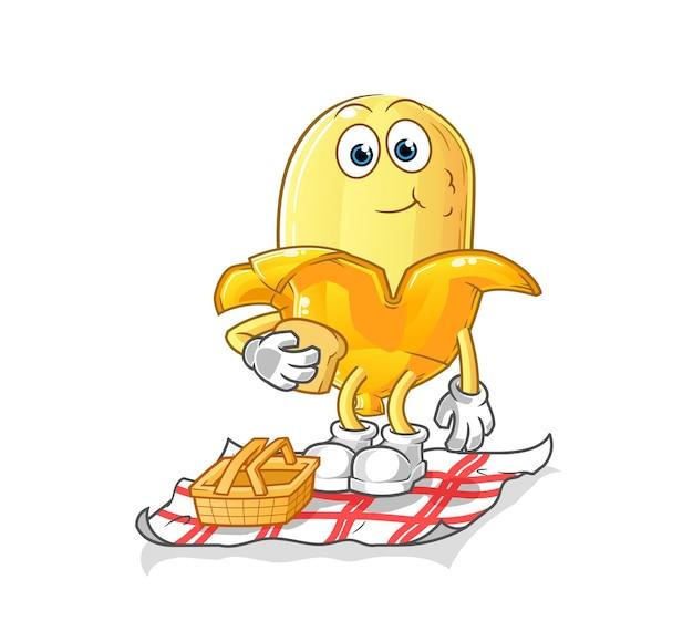 Die banane auf einem picknick-cartoon. cartoon maskottchen