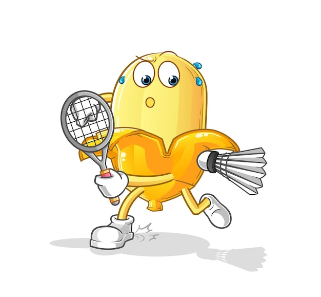Die banane, die badmintonillustration spielt. charakter