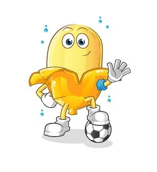 Die banane, die fußballillustration spielt. charakter