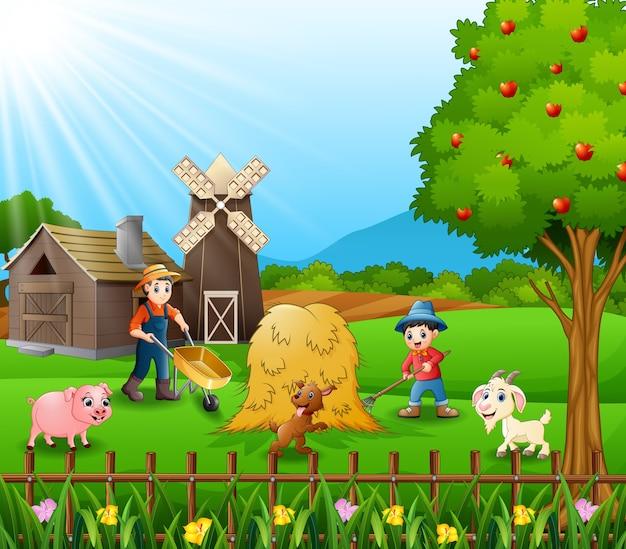 Die bauern arbeiteten auf der farm