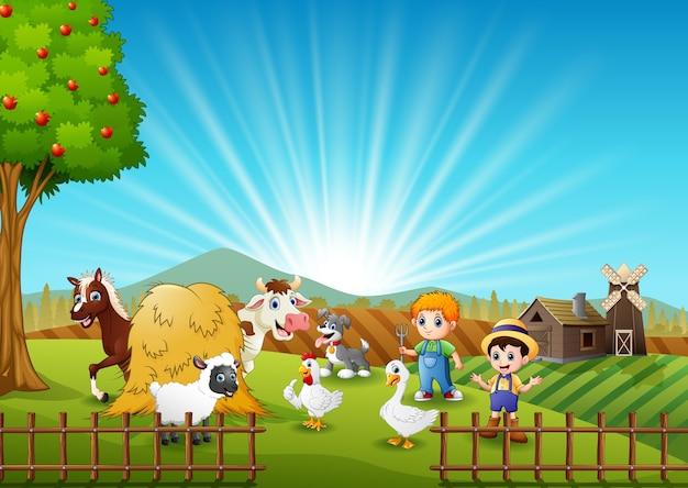 Die bauern halten die tiere auf dem bauernhof