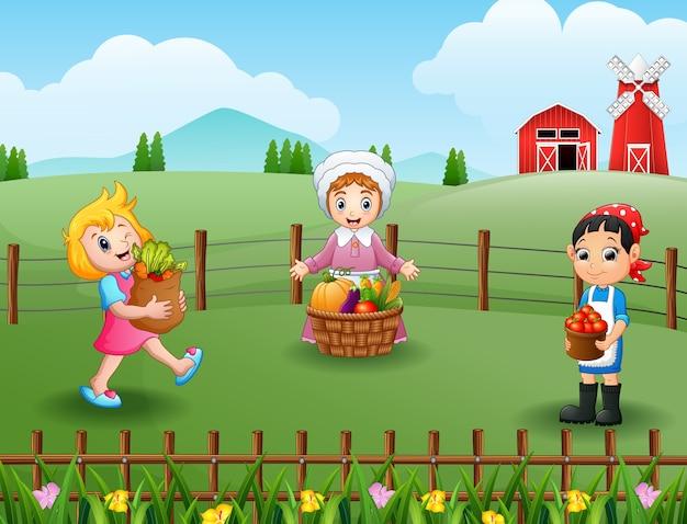 Die bauern versammelten sich in der farm