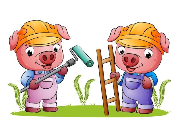 Die beiden arbeiterschweine halten den farbroller und die leiter der illustration