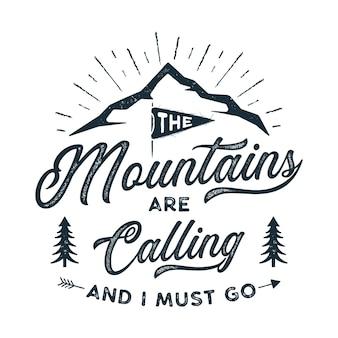 Die berge nennen designillustration