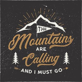 Die berge rufen zur veranschaulichung auf
