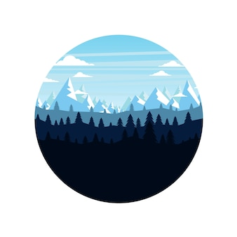 Die berge und die waldlandschaft früh