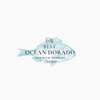Die beste abstrakte zeichen-, symbol- oder logo-schablone des ozean-dorado.