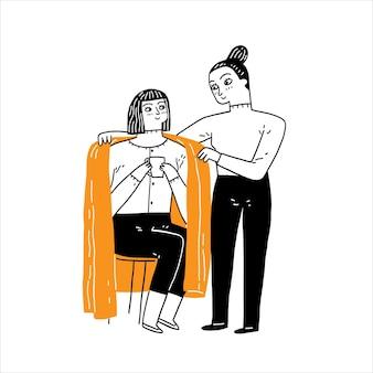 Die beste freundin, die sich um einen kranken freund kümmert, vektorillustration handgezeichnet