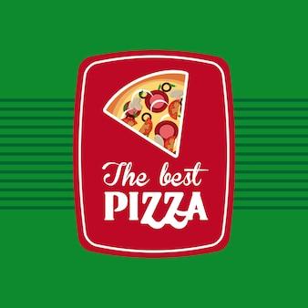 Die beste pizza über grüne hintergrundvektorillustration