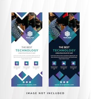 Die beste technologie vertikale banner design-vorlage.