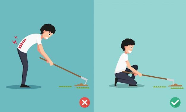 Die beste und schlechteste positionen für die hacke boden zu graben und einen baum pflanzen