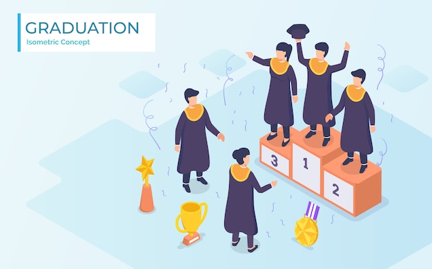 Die besten absolventen erhalten von ihren freunden applaus. modernes flaches cartoon-design.