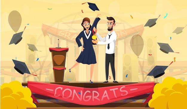 Die besten absolventen und ausgezeichneten studenten werden ausgezeichnet