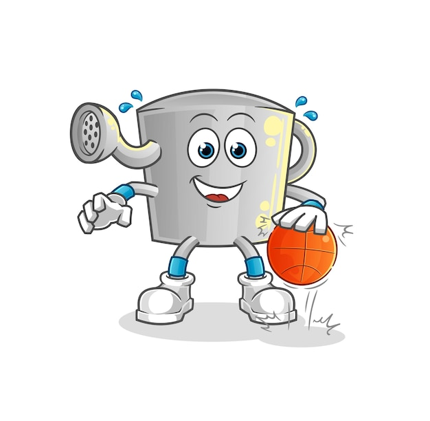Die bewässerung kann basketballcharakter dribbeln. cartoon maskottchen