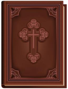 Die bibel. geschlossenes buch mit einem kreuz auf dem cover