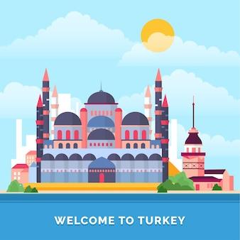 Die blaue moschee istanbul des türkei-marksteins